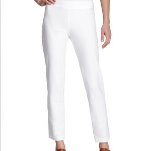 Eileen Fisher White Stretch Crepe Slim Ankle S